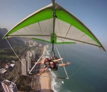 Having fun Hang Gliding over São Conrado beach